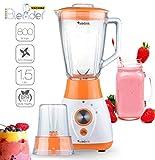 2in1 - 800 Watt Standmixer mit Mix-Behälter aus Glas 1,5 Liter inklusive Kaffeemühle, BPA-Free, 4-fach Edelstahl-Messer, Smoothie Maker, Blender, Ice-Crusher, geeignet für Smoothies, Cocktails, Suppen Orange