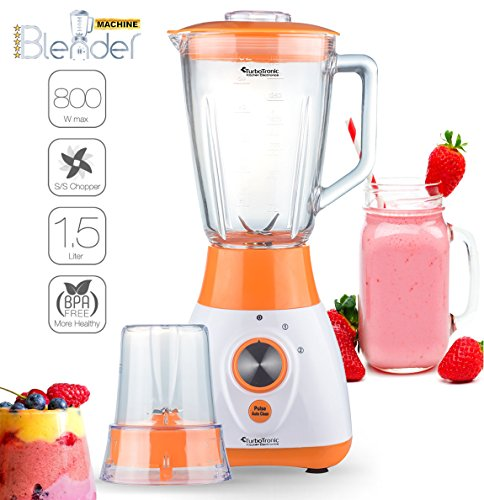 2in1 - 800 Watt Standmixer mit Mix-Behälter aus Glas 1,5 Liter inklusive Kaffeemühle, BPA-Free, 4-fach Edelstahl-Messer, Smoothie Maker, Blender, Ice-Crusher, geeignet für Smoothies, Cocktails, Suppen Orange (Blender Messer)