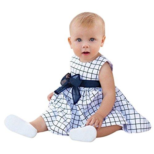 JERFER Kinder Baby Mädchen Plaid Taschen Sommerkleid Big Ärmelloses Kleid