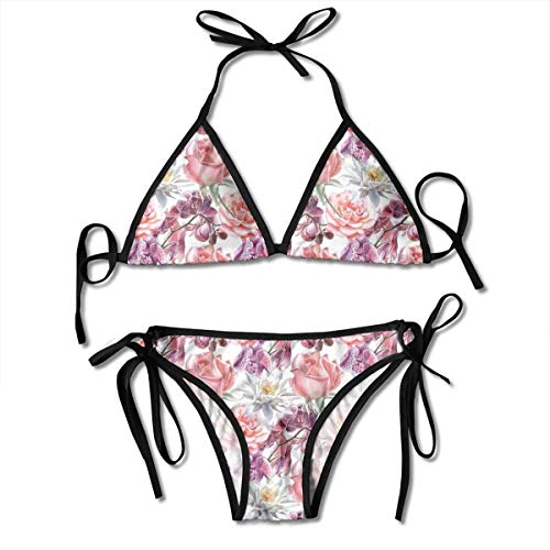 Orchid Underwire (Jiger Adjustable Bikini Set Halter Ladies Swimming Costume, Watercolor Rose and Orchid Lily Flowers Motif Nature Inspired Petals Artwork,Halter Beach Bathing Swimwear)
