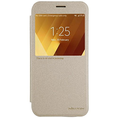Nillkin Sparkle Klappschutzhülle Leder Schutzhülle für Samsung Galaxy A3-Golden (Faser-optik-kamera-android)