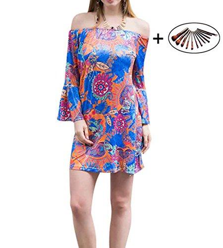 cuddty Strand Kleid Flare Sleeve Hohe Taille Halsband kurzes Kleid Spring Summer Damen FLOARAL Casual Kleid W551