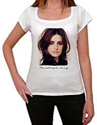 Penelope Cruz, tee shirt femme, imprimé célébrité,Blanc, t shirt femme,cadeau