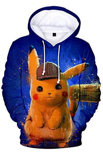 MingoTor Herren Coat Detective Pikachu Kapuzenpullover Mantel Hoodie mit Kapuze Kapuzenjacke Hooded Pulli Sweatshirt Lange Ärmel Unisex L