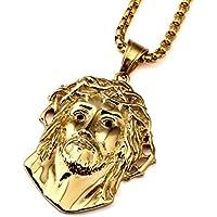nyuk da uomo in acciaio al titanio oro collane catena collana ciondolo Catene Ciondolo Gesù - 14k Oro Jade Stud