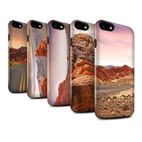 STUFF4 Glanz Harten Stoßfest Hülle / Case für Apple iPhone 8 / Felsenschlucht Muster / Bundesstaat Nevada Kollektion Pack 6pcs
