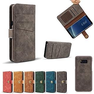 Samsung Galaxy S8 Hülle, Samsung Galaxy S8 Schutzhülle, Alfort Retro Lederhülle Flip PU Leder Hülle für Samsung Galaxy S8 Smartphone Tasche Handytasche mit Standfunktion und Kartenfächer (Grau)