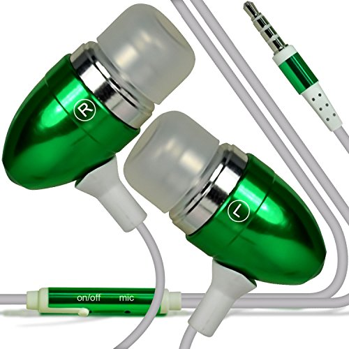 I-Sonite (Grün Qualitäts-Kopfhörer/Kopfhörer 3,5 mm Klinke mit Mikrofon und EIN/Aus-Taste Antwort freihändig für Cube Power M3