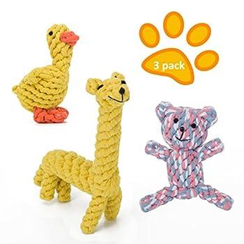 MiLuck Chien Corde Ensemble de jouets, animaux en coton Motif corde Jouets pour chien avec chiot jouer jouet et de formation