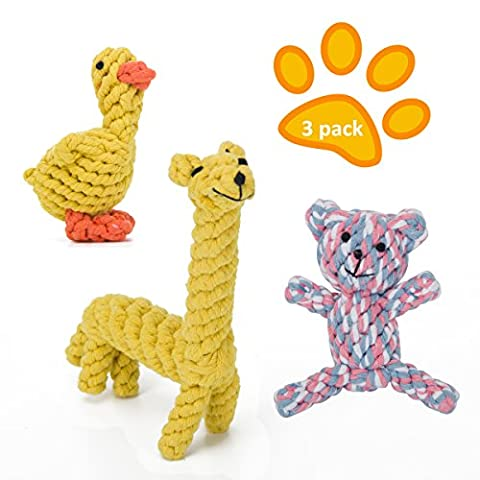 Generic Dog Rope Toys Set, Animal Design Cotton Rope Dog Toys with Puppy Play Chew and Training Toy (3 Kinds Animal