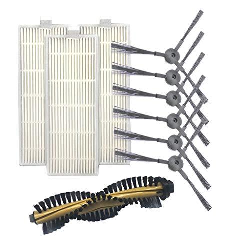 Vamoro Dust Staubsaugerbürste Ersatzteile Waschsauger-Zubehör Seitenbürste & Filter Ersatz für Sieb- und Rollbürste für Ilife A4 Robot Sweeper