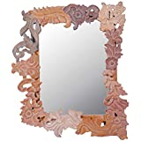 Meher Creation Brown Color Wooden Hand Carved Square Shape Wall Mirror/Makeup Mirror/Decorative Wall Mirror (Size :- 32 X 27 X 2 Inches)