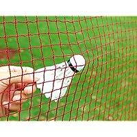 Angker Badminton Net (Nylon Braided Mesh in Red) for Indoor or Outdoor Sports Garden Schoolyard Backyard