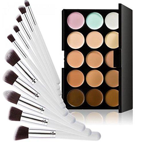 Set Palette Anticernes 15 Couleurs + 10pcs Pinceaux de Maquillage - Blanc et Argent