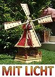 BTV Batovi Windmühle, mit Holzschindel - Dach SOLAR Innenbeleuchtung 1,2 m groß Hellbraun braun hell + Natur MIT SOLARBELEUCHTUNG HOLZSCHINDEL aus Massivholz für Garten und Terrasse