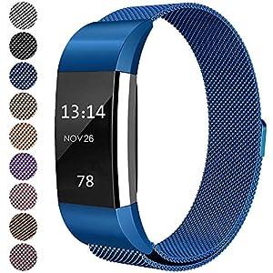 LINCCI Für Fitbit Charge 2 Armband, Charge2 Armband Damen Herren Magnet Milanese Edelstahl Watch Band Strap Uhrenarmband Uhrband Verstellbares Armbänder für Fitbit Charge 2 Fitness Tracker Zubehör