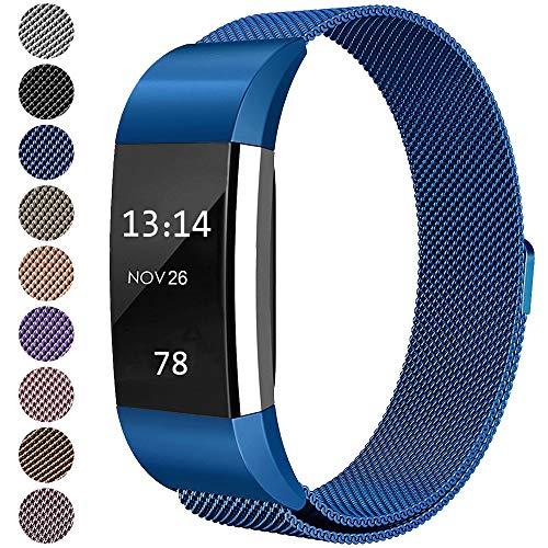 LINCCI Für Fitbit Charge2 Armband, Frauen Damen Herren Magnet Milanese Edelstahl Watch Band Strap Sport Bänder Metall Armbänder für Fitbit Charge 2 Original Uhrband Uhrenarmband Blau