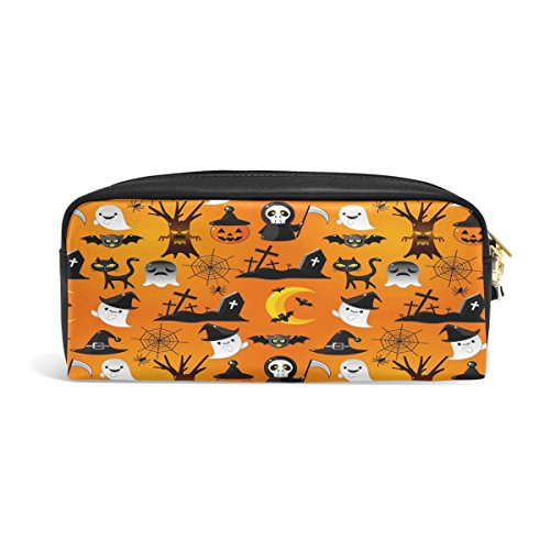 Domoko Cartoon Halloween Ghost Pumpkin PU Leder Pen Pouch Federmappe Fall Make-Up Kosmetik reisen Schule Tasche (Halloween Ghost Cartoon)