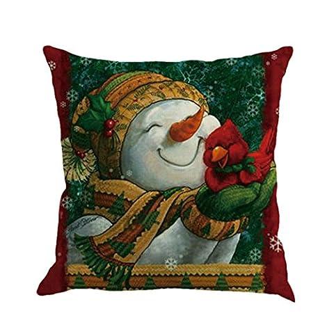 Xshuai Frohe Weihnachten Schneemann Druck Färben Sofa Bett Home Decor Kissenbezug Kissenbezug (Multi Typ A / B / C / D / E / F / G / H / I) (I)