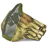QMFIVE Tactical Maske, Stahl Halbmaske und Verstellbare Elastische Band Faltbare Half Face Maske Schutzmaske Maske für Airsoft Paintball CS(Mandrake Kryptek (MR)