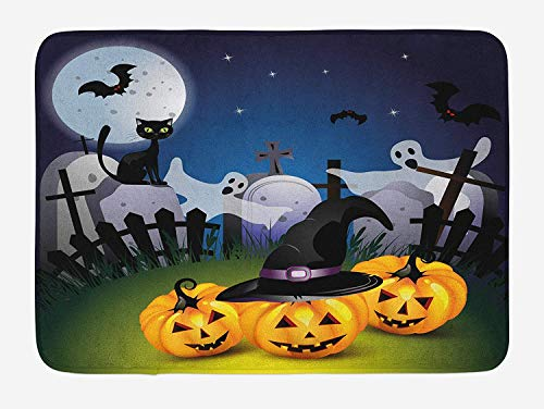 (VTXWL Halloween Bath Mat, Funny Cartoon Design with Pumpkins Witches Hat Ghosts Graveyard Full Moon Cat, Plush Bathroom Decor Mat with Non Slip Backing, 23.6 W X 15.7 W Inches, Multicolor)
