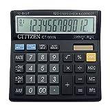 ynxing ct-555N calculadora calculadora de sobremesa Pantalla grande de 12dígitos calculadora Solar electrónico para la oficina/negocios/electrónico (negro)