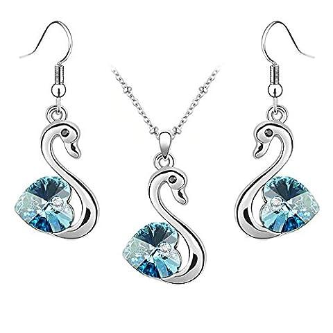 Schmuck ensemble pendentif cygne crystals dangle boucle d'oreille avec cristaux swarovski bleu aigue-marine en forme de cœur