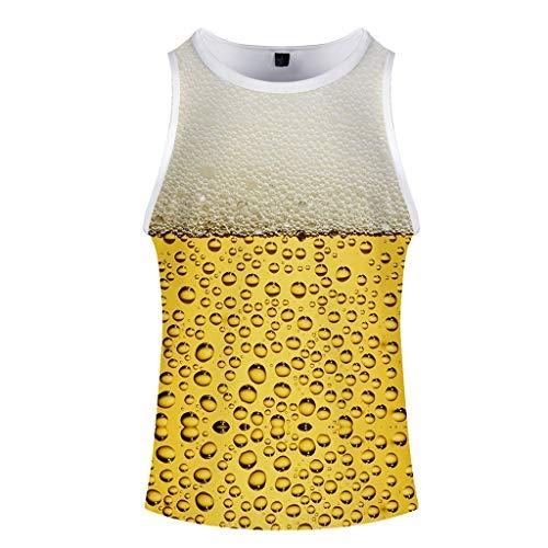 Beer Festival T-Shirt,Herren Sommer 3D Gedruckt O-Ausschnitt Ärmellos Muskelshirt Oben(Beige-B,XXXX-Large)
