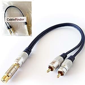 Cablefinder Câble adaptateur de répartition en forme de Y pour caisson de basses 2 RCA mâles vers 1 RCA phono femelle