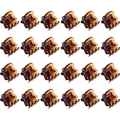 Haarklammern Mini,24er Pack Damen Haargreifer Kleine Haarspangen Kunststoff Orchidee Clips Pflanzenclips Pins Schellen für Mädchen Frauen 1.5 CM Schwarz