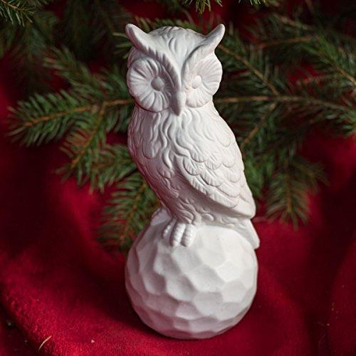 Antikas - Hübsche Eule aus Keramik, Weißer Uhu als Deko zum hinstellen