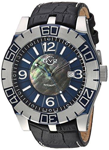 GV2by Gevril la luna para hombre reloj automático negro correa de piel suizo, (modelo: 8004)