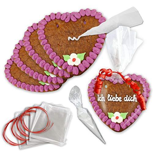Lebkuchen Herz zum Selbst beschriften - 10er Pack - 15cm - Randfarbe: Lila