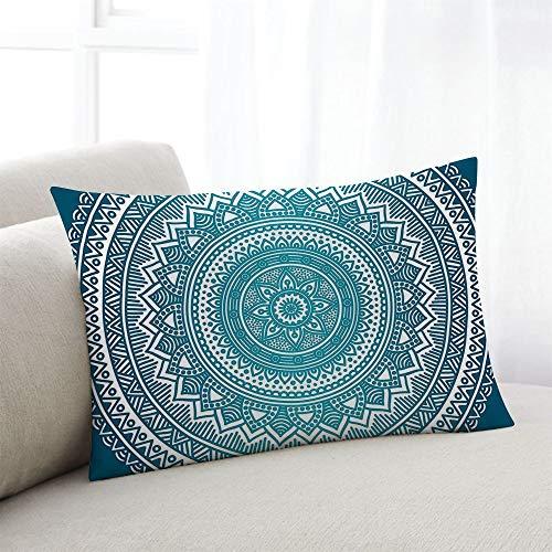 Sky-medaillons (odin sky Kissenbezug Türkis Ombre Mandala Medaillon Dark Turquoise Home Pillow Kissenbezug Kissenbezüge für Sofa Sessel Schlafzimmer Wohnzimmer, 45x45CM)