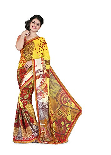 Sharda Sarees Georgette Saree (Yellow-Off White) with Blouse Piece