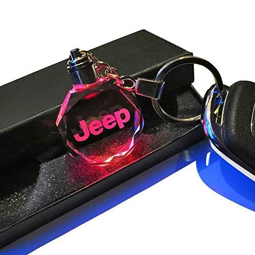 VILLSION 7 Colores Cambiantes Logo Coche Jeep Llavero con luz LED Llave Accesorios