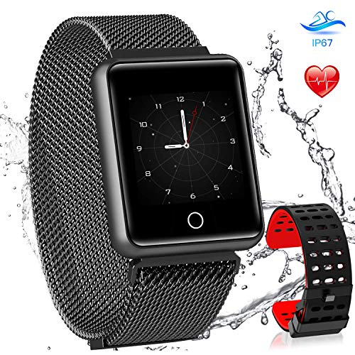 AGPTEK Bluetooth Smartwatch Fitness Uhr, Intelligente Armbanduhr Fitness Tracker, Smart Watch Sport Uhr mit Schrittzähler Schlaftracker Romte Capture Kompatibel Android Smartphone, Schwarz