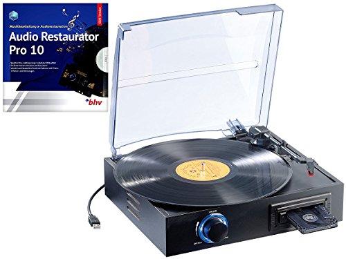 Q-Sonic USB Plattenspieler: USB-Platten- & Kassetten-Spieler UPM-700 + Audio Restaurator 10 (Schallplattendigitalisierer)