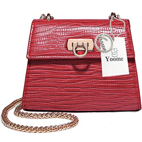 Borsa a tracolla elegante della lucertola di Yoome Tiny Pure Color Flap Vintage Crossbody Chain Shoulder Bag per le ragazze - Nero Rosso