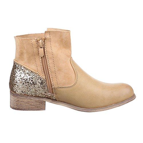 Damen Schuhe, C261, STIEFELETTEN FRANSEN BOOTS Camel