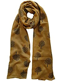 Mulberry Tree Design Scarf in Mustard Ladies Fashion Scarves
