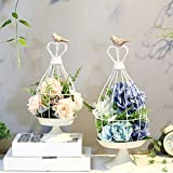 ZI LING SHOP- Creative Retro Desktop florales pájaros de hierro carnaval titular de la vela recuerdo de la boda decorativa decoración de flores Birdcage decoración Flower racks ( Tamaño : Gran )