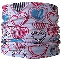 Braga para el cuello, pañuelo de microfibra multifunción, diseño de corazones fondo blanco