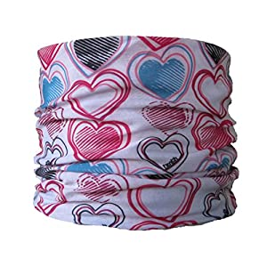 51jwmyTLOeL. SS300  - Multifunctional Headwear White with Multi Colour Hearts