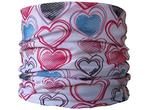 Multifunctional Headwear White with Multi Colour Hearts