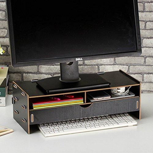 Dreamaccess TV en bois pour ordinateur portable PC support de moniteur, Extra tiroir, poche pour téléphone portable, bibliothèque, stylo, Box, quotidien Stuff Organiseur Moyen Noir pur