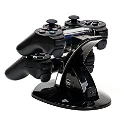 Mp Power @ Dual Usb Charging Charger Docking Station Stand For Playstation 3 Ps3 Controller With Led Light Indicators