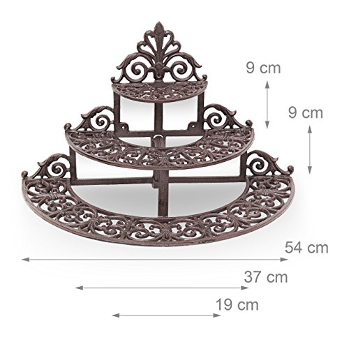 Scale In Ghisa.Relaxdays 10020120 186 Scale In Ghisa Per Giardino Fioriera Decorativa Marrone 28x54x33 Cm