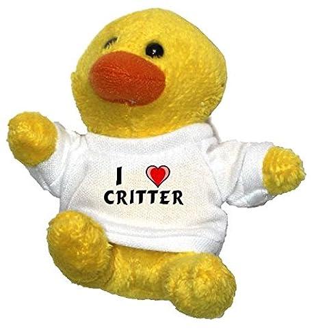 Plüsch Hähnchen Schlüsselhalter mit einem T-shirt mit Aufschrift mit Ich liebe Critter (Vorname/Zuname/Spitzname)