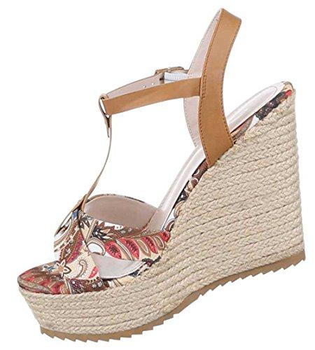 Damen-Schuhe Sandaletten | elegante High-Heel mit Plateau und Keil Absatz in verschiedenen Farben und Größen | Schuhcity24 | Pumps mit Schnallen Verschluss | Absatz in Bastoptik Camel